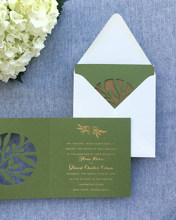 Laser-cut Olive and Gold Foil Square Wedding Invitation