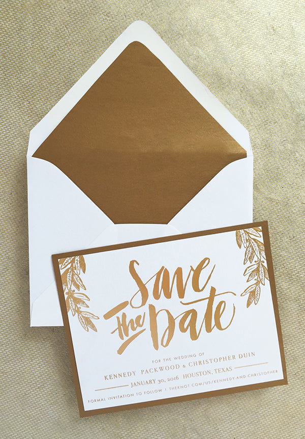 gold foil hand lettered calligraphy save the date classic modern formal