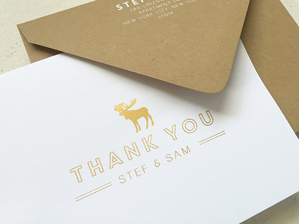 Gold Foil Thank You Cards - Custom Moose