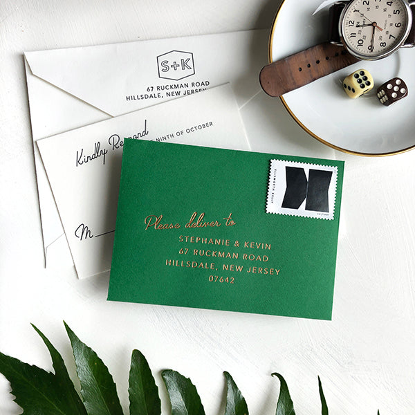 Green RSVP Card Copper Foil Modern Luxury Wedding Invitation
