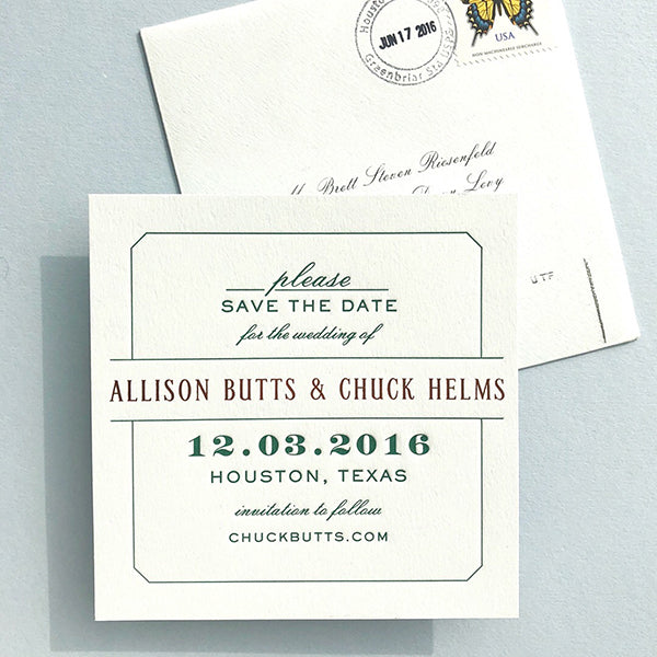 Forrest Green Copper Foil Letterpress Save the Date Square