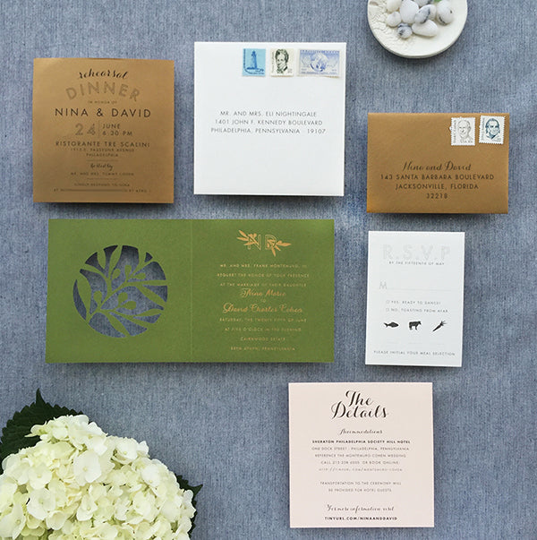 Modern Square Invitation - Olive, Green, blush and Cream with Gold Foil and blade-cut details