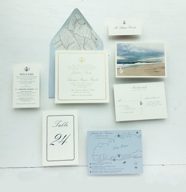 Gold and Dusty Blue Nautical Wedding Invitations Long Island Hamptons Beach
