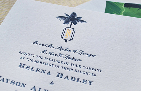 navy letterpress gold foil wedding invitation tropical formal