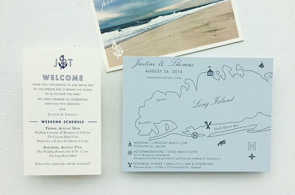 Nautical Wedding Invitation Map Beach Welcome Itinerary Beach