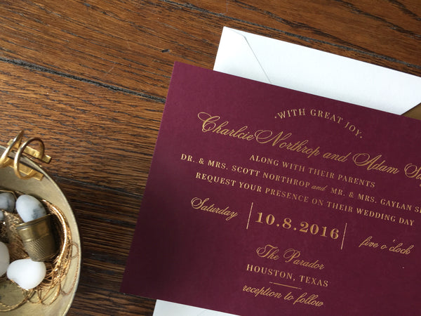 wine and gold foil wedding invitation | fall wedding trends