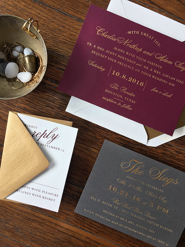 wine, gold, slate gray fall wedding invitation