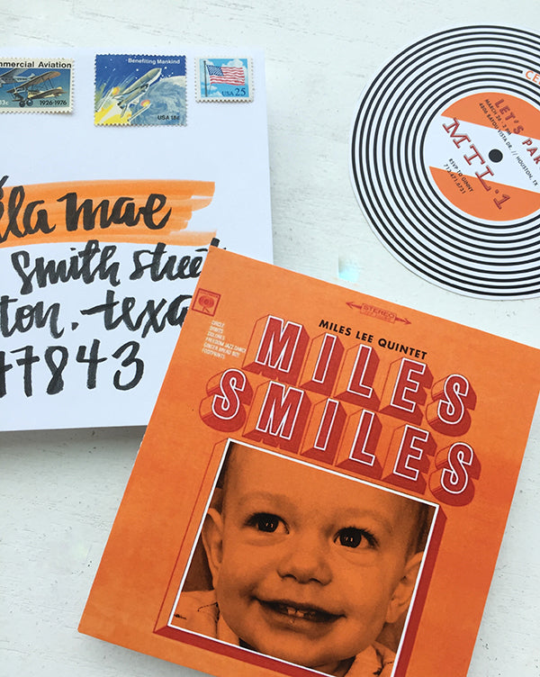 Miles Smiles Birthday Party Album invitation