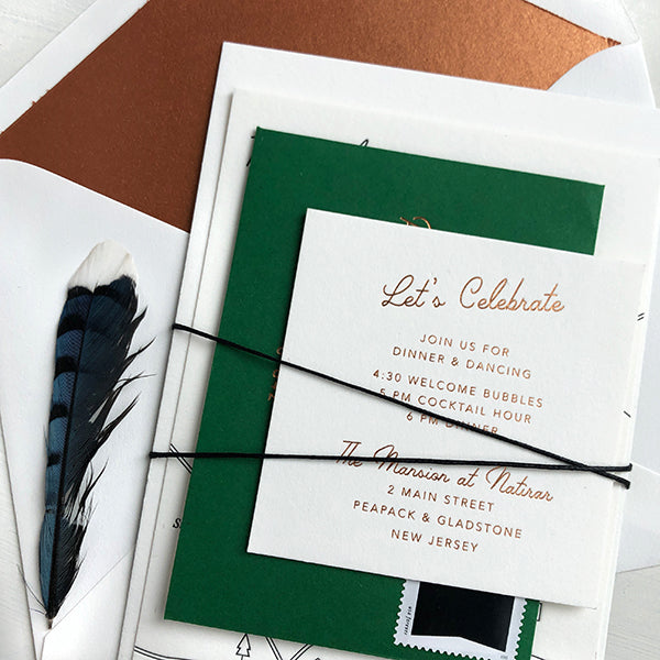 Copper Green Luxury Wedding Invitation Modern Foil Letterpress