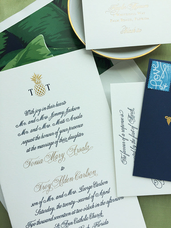 West Palm Beach Luxury Formal Wedding Invitation Gold Foil Navy