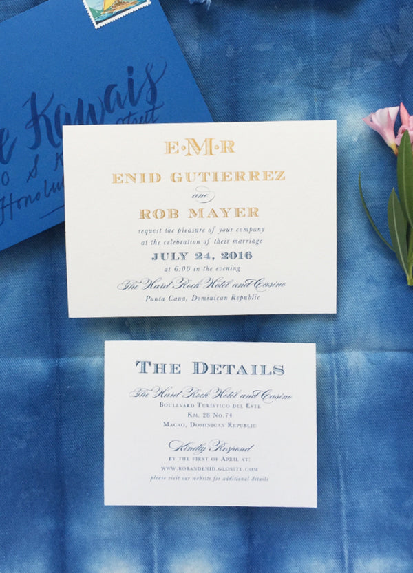 Punta Cana Gold Foil and Ocean Blue Wedding Invitation Monogram