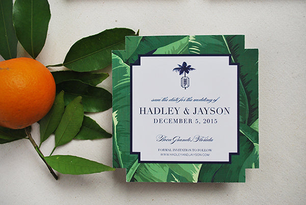 banana leaf print save the date tropical florida wedding