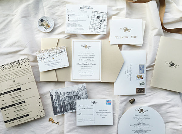 Gold and Champagne Wedding Invitations