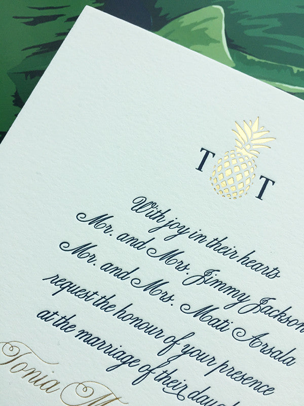 West Palm Beach Formal Wedding Invitation Gold Foil Navy Luxury Letterpress