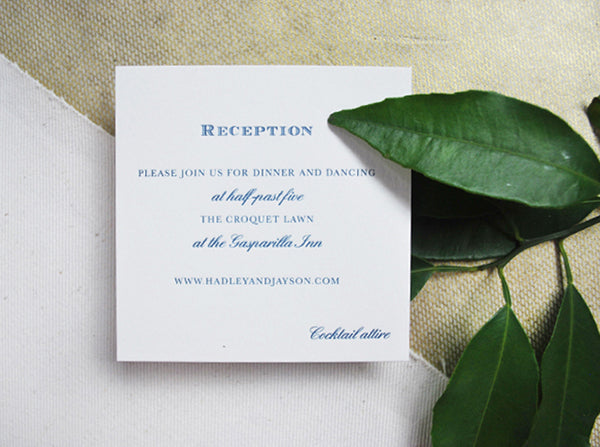 formal wedding reception card navy letterpress