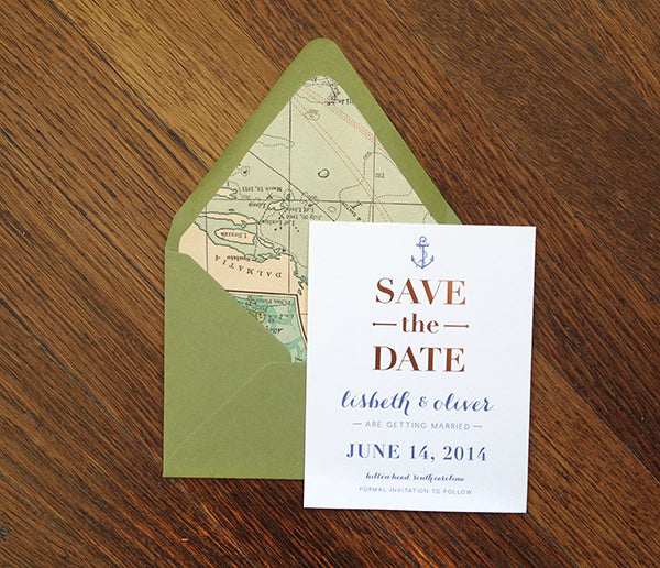 rose gold foil save the date with nautical map liner – Charm
