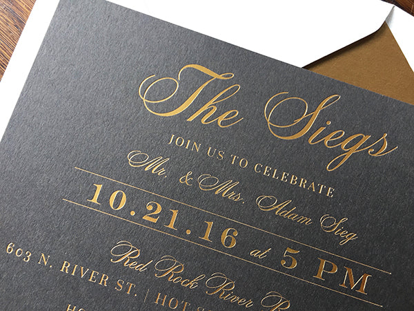 slate gray and gold foil wedding invitation