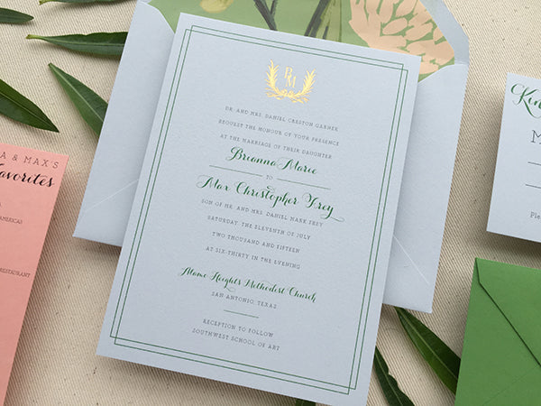 brianna and maxs san antonio summer wedding invitations started with a dusty blue paper rifle paper cos emerald peony patter for envelope liners - Summer Wedding Invitations