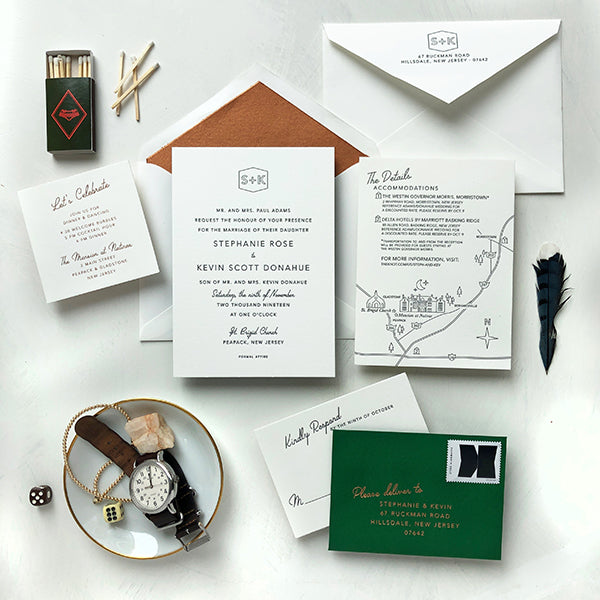 Copper Foil Green Luxury Wedding Invitation Modern Monogram Letterpress New Jersey