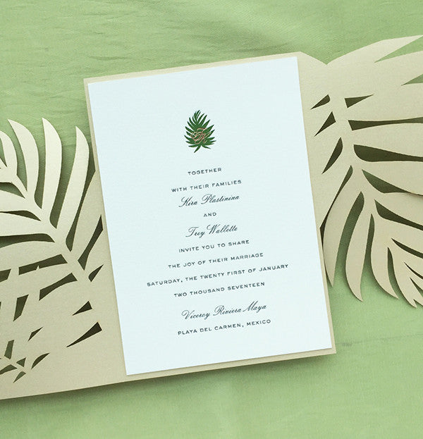 kira trey s tropical letterpress and rose gold invitations charm