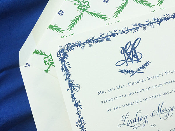 Texas Wildflower Illustrated Wedding Invitation Navy Green Hill country