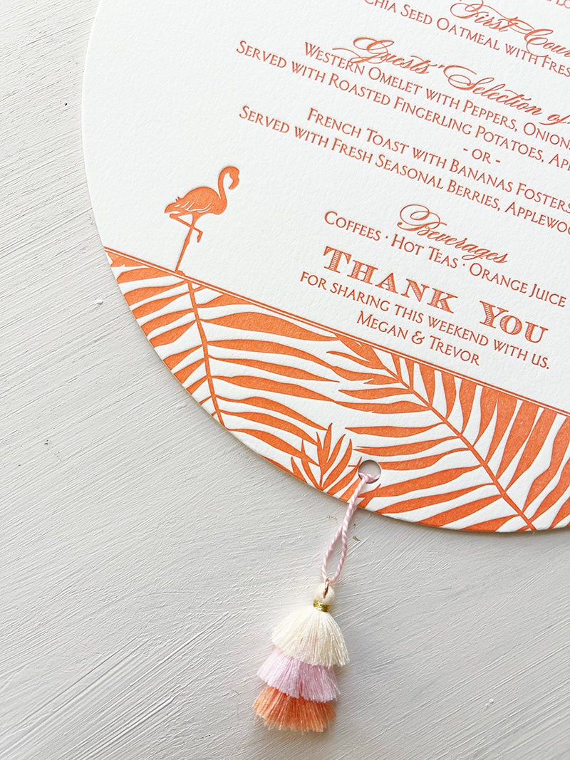 Brunch Menu Tassel Florida Letterpress Key West Wedding