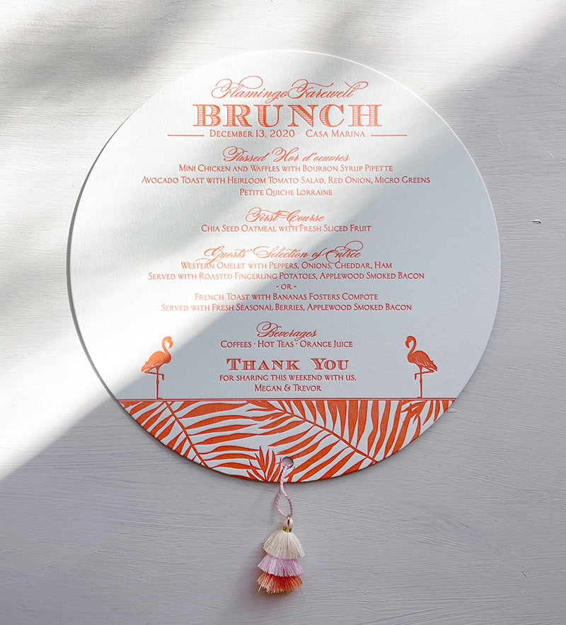 Letterpress Circle Menu Tassel Florida Tropical Key West