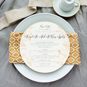 Circle Menu Wedding Formal Fall Copper