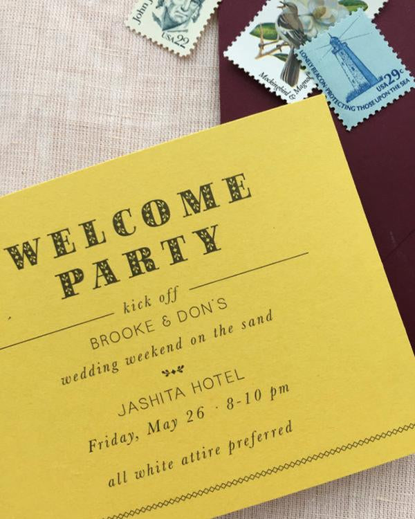 Welcome Party Card Destination Wedding Mexico