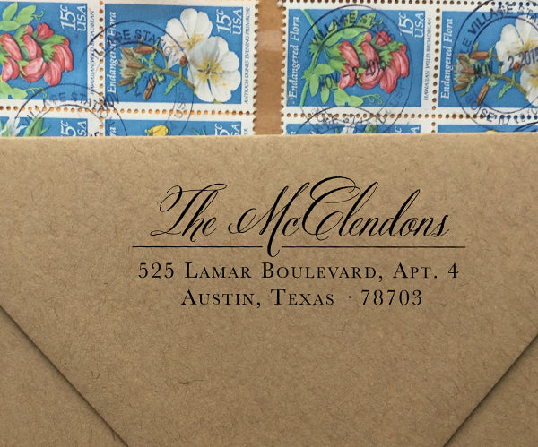 Romantic and Rustic Return Address Stamp