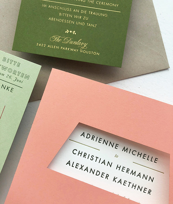 James Turrell Inspired Wedding Invitations Letterpress