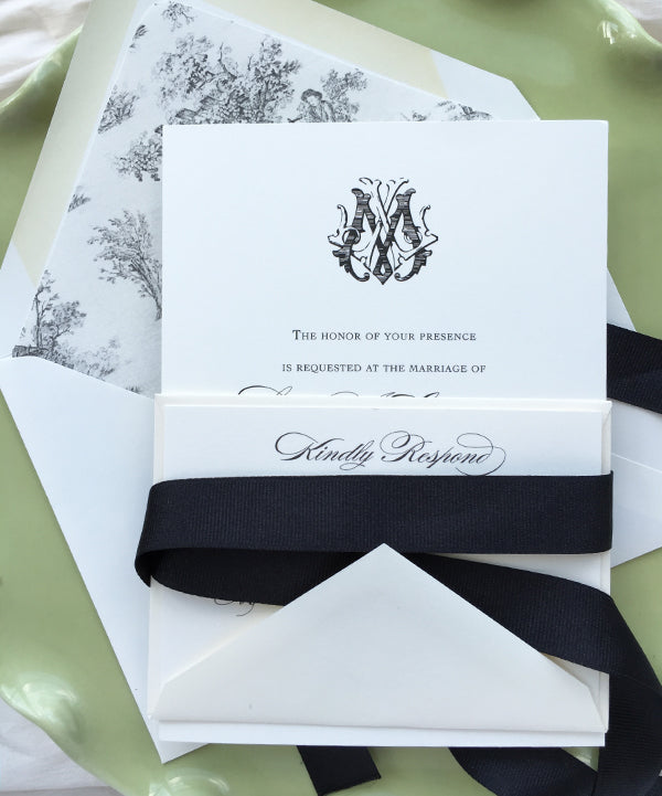 Black and White Spring Wedding Invitation with Monogram and Toile