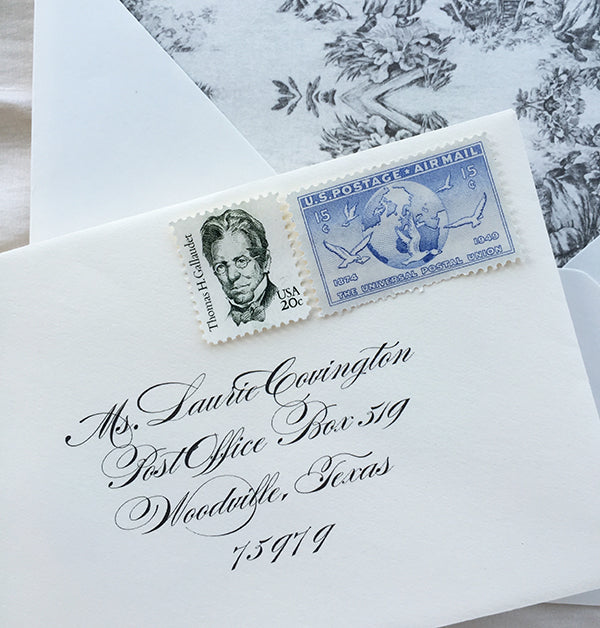 Traditional RSVP Envelope with Vintage Stamps and Toile Envelope Liner
