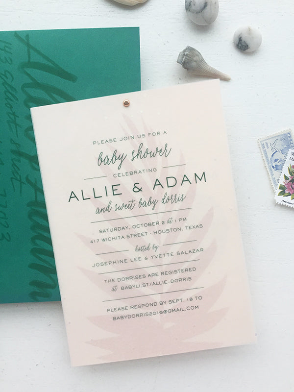 blush emerald modern boho baby shower invitations charm fig