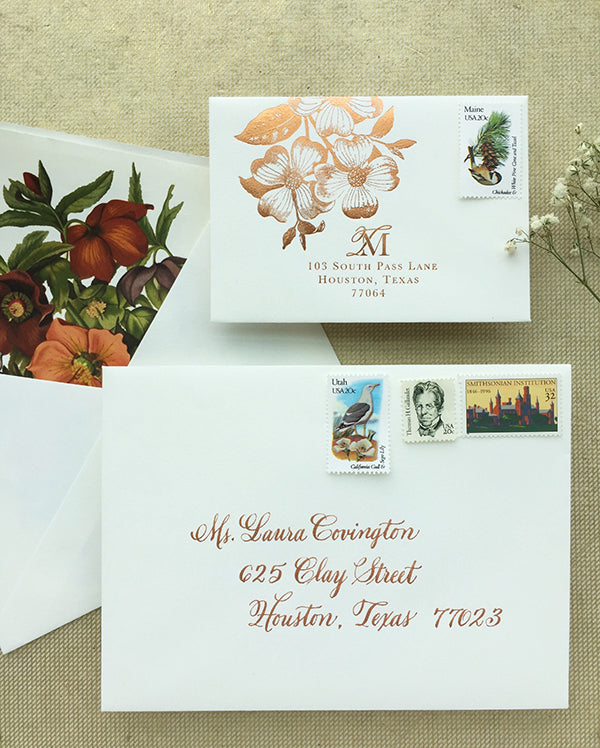 Fall Wedding Invitation Copper Calligraphy Floral