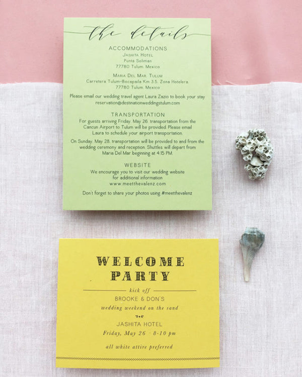 Details Card Welcome Party Destination Wedding Mexico