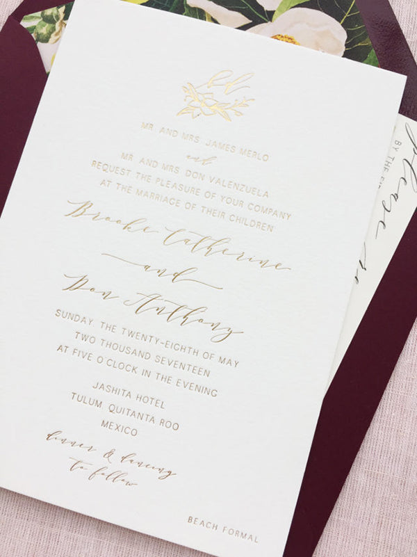 Gold Foil Minimal Wedding Invitation Bohemian