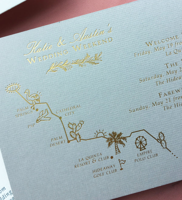 custom illustrated map palm springs wedding california
