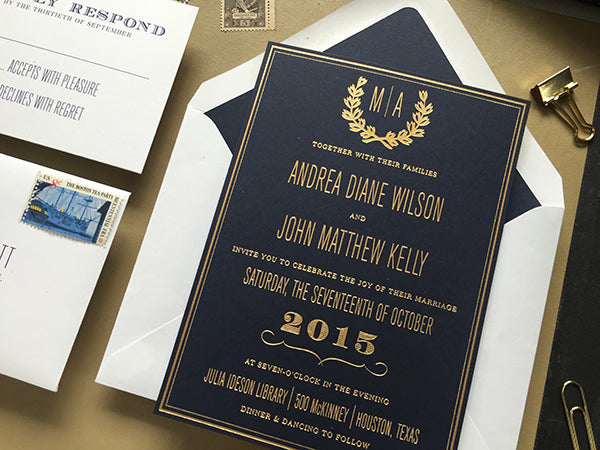 Gold Foil on Navy Wedding Invitation Julia Ideson Library