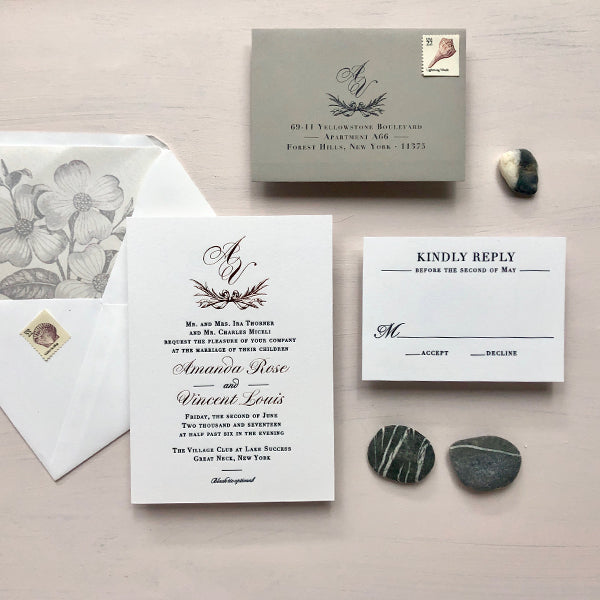 New York Wedding Invitation Blush, Rose Gold and Gray Letterpress