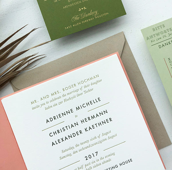 Coral + Olive Bilingual Letterpress Wedding Invitations