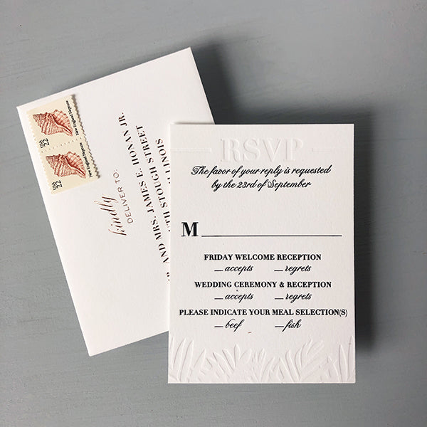 Letterpress Tropical RSVP Wedding Invitation Florida