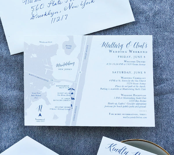 Mantoloking Wedding Map Blue Gray East Coast