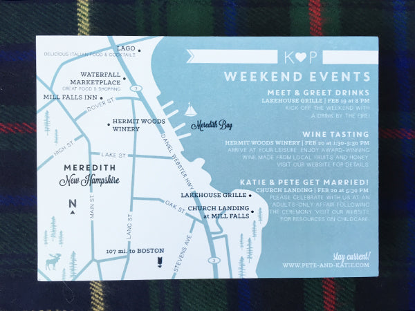Custom Wedding Weekend Map | Meredith, New Hampshire
