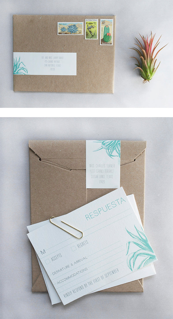Nan tims minimal modern tulum wedding invitations charm fig for the response cards we included space for guests to fill out their travel information always a good idea for international weddings stopboris