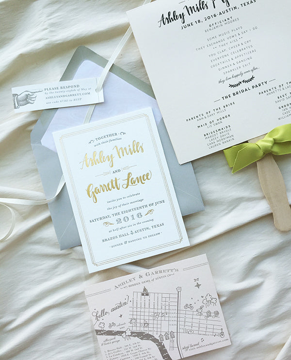 Gold Foil Gray Letterpress Austin Texas Wedding Invitation