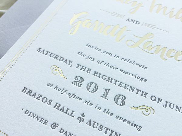Gold and Gray Letterpress Wedding Invitation Detail