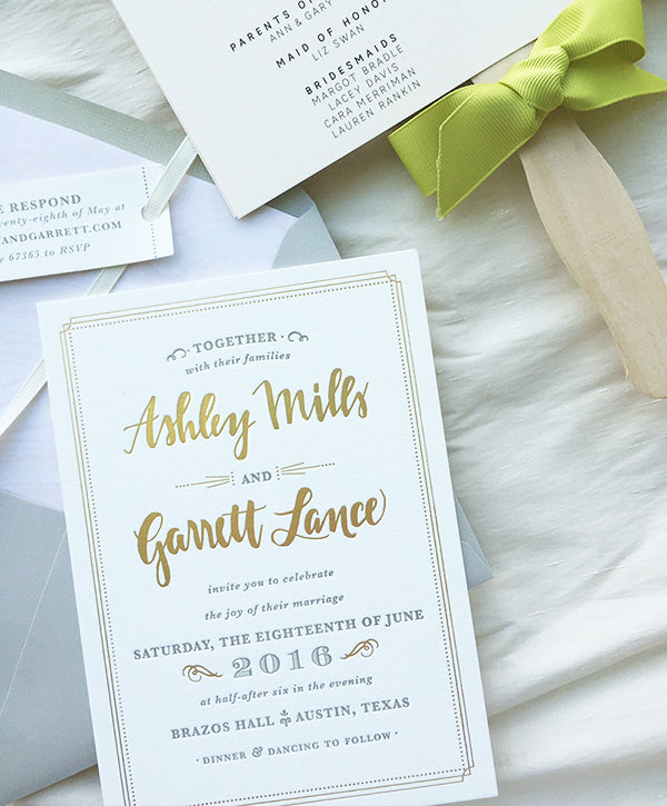 Gold and Gray Letterpress Wedding Invitation Marble Liner Fan Program