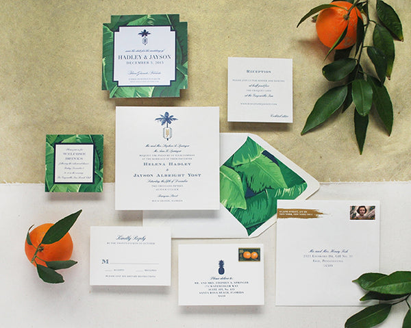 tropical florida wedding invitation letterpress formal banana palm pineapple