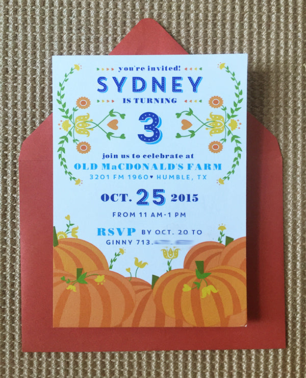 Fall Pumpkin Patch Birthday Party Invitation Farm